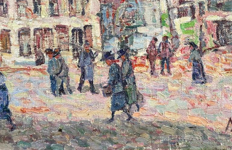 La Tour Blessée, Oudenaarde - 20th Century Oil, Figures Cityscape by Modest Huys For Sale 4