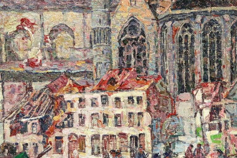 La Tour Blessée, Oudenaarde - 20th Century Oil, Figures Cityscape by Modest Huys For Sale 5