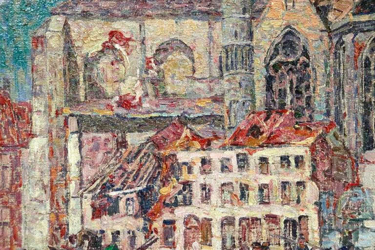 La Tour Blessée, Oudenaarde - 20th Century Oil, Figures Cityscape by Modest Huys For Sale 6