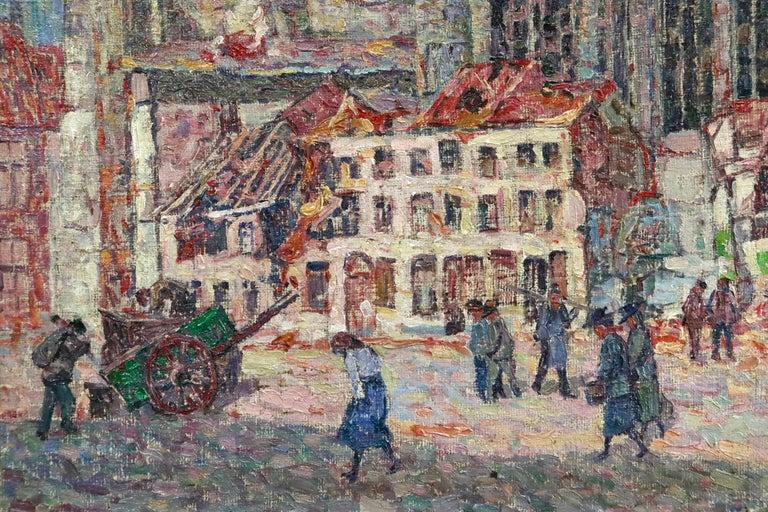 La Tour Blessée, Oudenaarde - 20th Century Oil, Figures Cityscape by Modest Huys For Sale 7