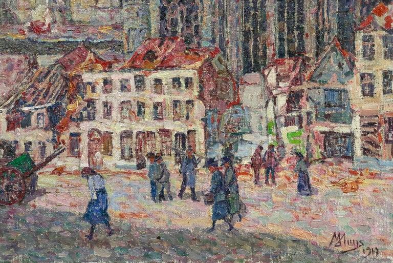 La Tour Blessée, Oudenaarde - 20th Century Oil, Figures Cityscape by Modest Huys For Sale 8