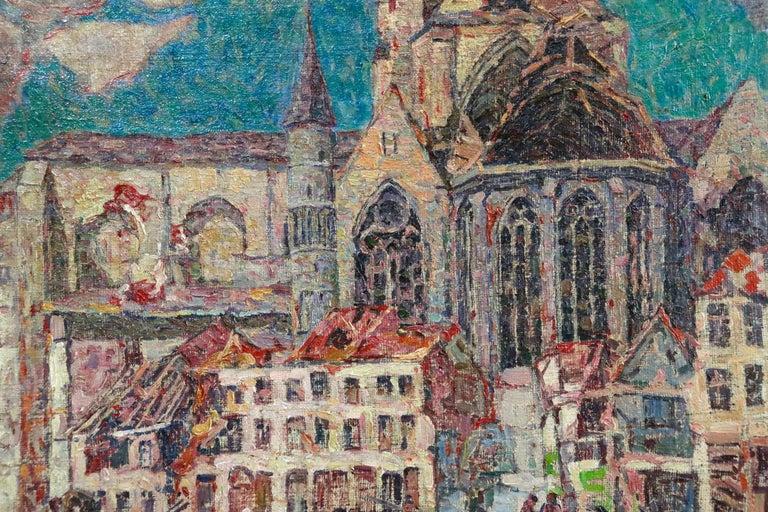 La Tour Blessée, Oudenaarde - 20th Century Oil, Figures Cityscape by Modest Huys For Sale 9