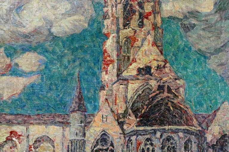 La Tour Blessée, Oudenaarde - 20th Century Oil, Figures Cityscape by Modest Huys For Sale 10