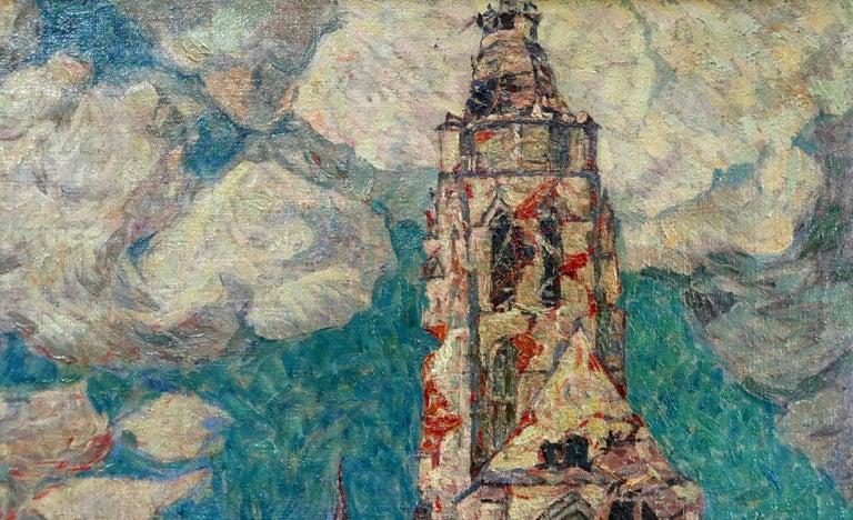 La Tour Blessée, Oudenaarde - 20th Century Oil, Figures Cityscape by Modest Huys For Sale 11