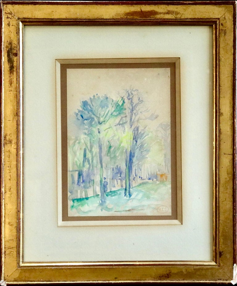 L'állee d'arbres - 19th Century Watercolor, Figure in Trees Landscape by H Cross For Sale 2
