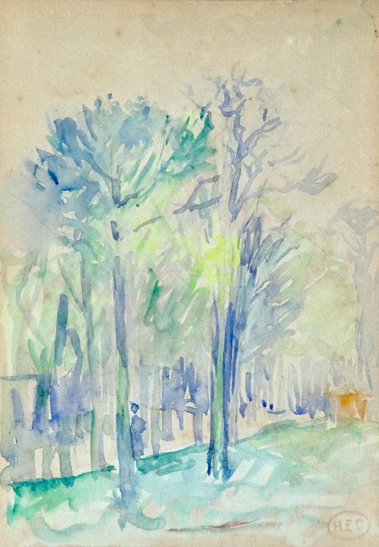 Henri Edmond Cross Landscape Art - L'állee d'arbres - 19th Century Watercolor, Figure in Trees Landscape by H Cross