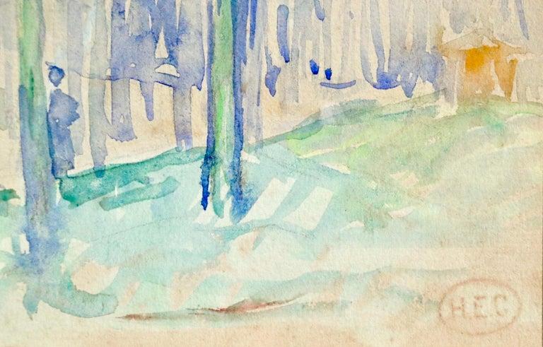 L'állee d'arbres - 19th Century Watercolor, Figure in Trees Landscape by H Cross - Art by Henri Edmond Cross