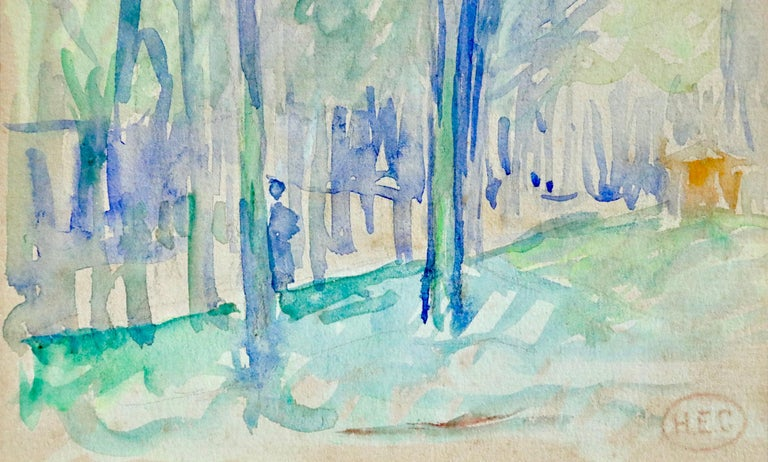 L'állee d'arbres - 19th Century Watercolor, Figure in Trees Landscape by H Cross - Impressionist Art by Henri Edmond Cross