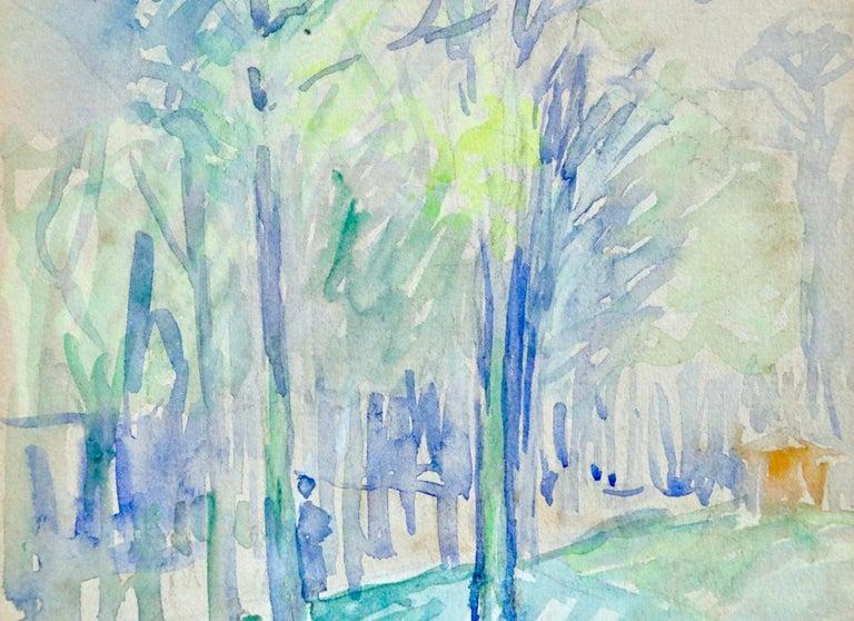 L'állee d'arbres - 19th Century Watercolor, Figure in Trees Landscape by H Cross - Gray Landscape Art by Henri Edmond Cross