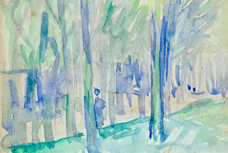 L'állee d'arbres - 19th Century Watercolor, Figure in Trees Landscape by H Cross For Sale 1