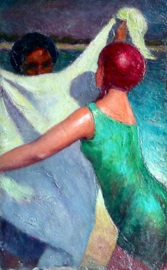 Baigneuses - Post Impressionist Oil, Bather Figures on Beach - Bernardo Biancale