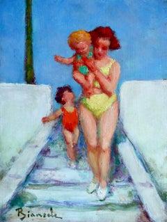 Sur La Riviera - Post Impressionist Oil, Figures in Landscape, Bernardo Biancale