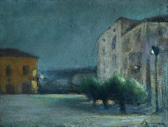 Nuit - Sora, Italy - Post Impressionist Oil, Night Landscape - Bernardo Biancale