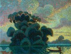 Sur la rivière - coucher de soleil - Divisionist Oil, Riverscape by M Guillard