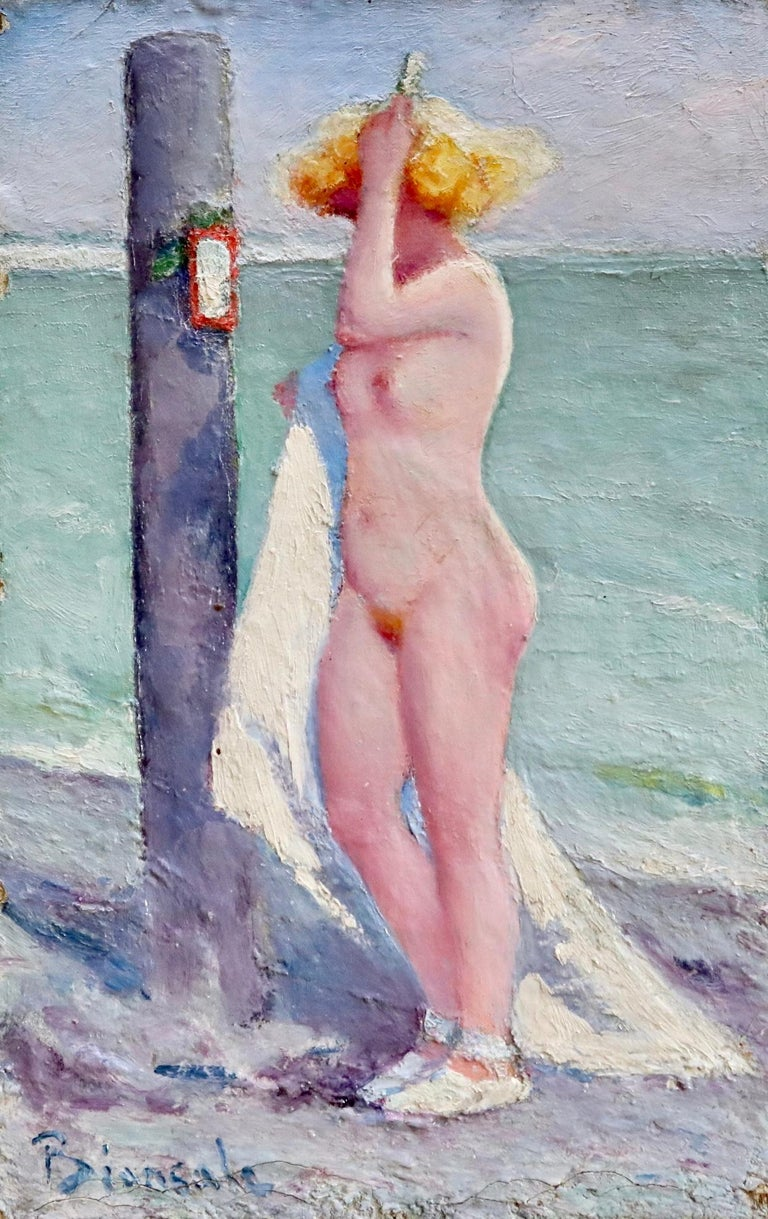 20th century oil on paper panel by Italian painter Bernardo Biancale depicting a nude blonde standing on the beach brushing her hair. Signed lower left. This painting is not currently framed but a suitable frame can be sourced if