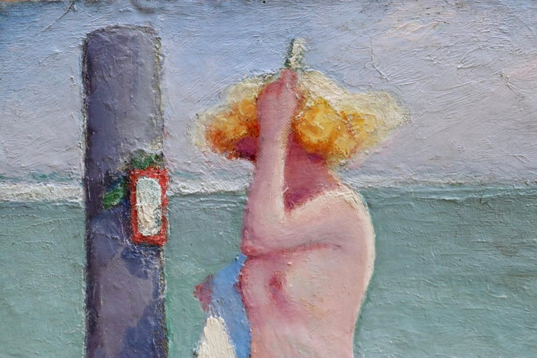 Brosser les cheveux - Post Impressionist Oil, Nude on Beach by Bernardo Biancale 1