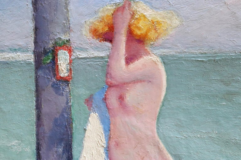 Brosser les cheveux - Post Impressionist Oil, Nude on Beach by Bernardo Biancale 2