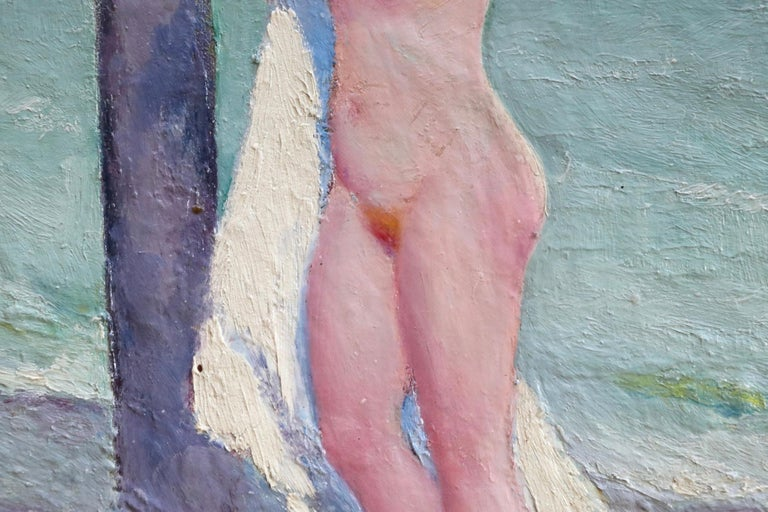 Brosser les cheveux - Post Impressionist Oil, Nude on Beach by Bernardo Biancale 3