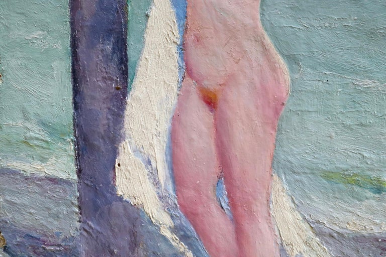 Brosser les cheveux - Post Impressionist Oil, Nude on Beach by Bernardo Biancale 6