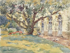 The Artist's Garden - French Impressionist Watercolor, Landscape by Henri Duhem