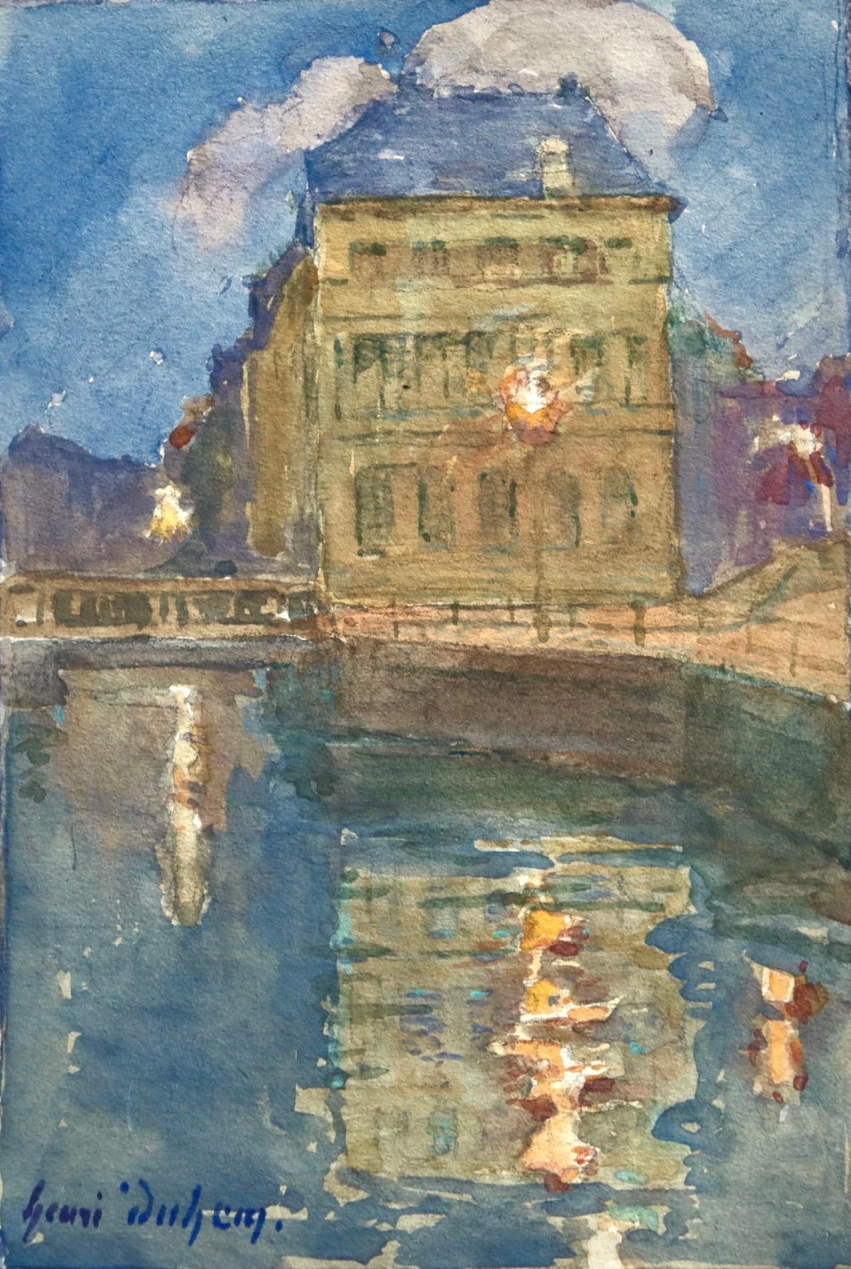 La Scarpe, Canal de Douai - French Impressionist Watercolor Landscape by H Duhem