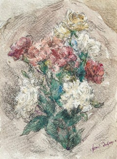 Fleurs - French Impressionist Watercolor, Still Life of Flowers by Henri Duhem