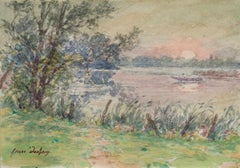 Sunset on the River - French Impressionist Watercolor, Landscape by Henri Duhem