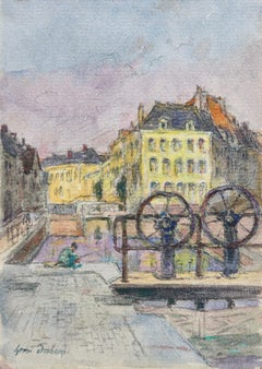 The Canal at Douai - Impressionist Watercolor, Figure in Landscape by H Duhem
