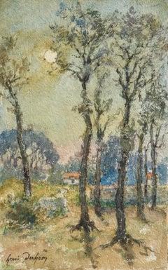 Paysage au Clair de Lune - Impressionist Watercolor Moonlit Landscape by H Duhem