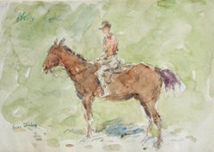 Nelly - French Impressionist Watercolor, Figure on a Horse by Henri Duhem