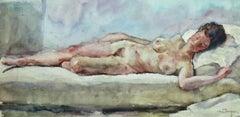 Nu Allonge -19th Century Watercolor, Nude Figure in Interior by Kees van Dongen