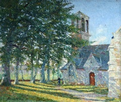 Paysage Breton - Impressionist Oil, Figure by Church in Landscape by B H Klene