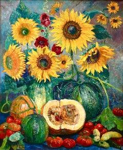 Soleils et Potirons - Impressionist Oil, Flowers & Vegetables by Bernardus Klene