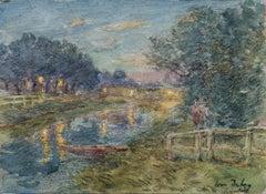 La rivière la nuit- Impressionist Watercolor, Figures by River Landscape - Duhem