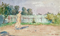 Tennis - Impressionist Watercolor, Woman Playing Tennis in Landscape by H Duhem