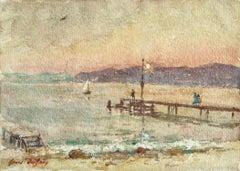 Le quai - le soir - Impressionist Watercolor, Figures at the Coast by H Duhem