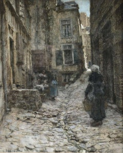 Saint Malo - Barbizon Pastel, Figures in Street Scene by Leon Augustin Lhermitte
