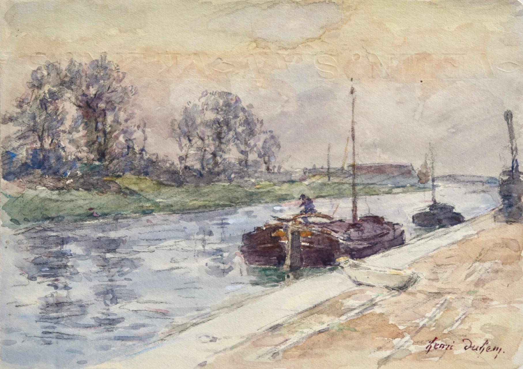 Péniches sur le canal - Impressionist Watercolour, Landscape by Henri Duhem