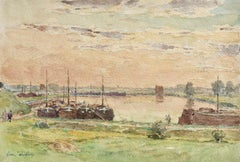 Fishing boats moored - Impressionist Watercolour, Landscape by Henri Duhem