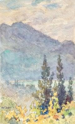 Vue sur le lac Léman - Impressionist Watercolour, Landscape by Henri Duhem