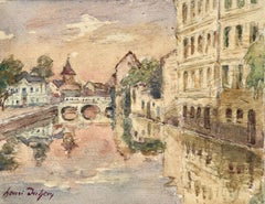 Reflections - Canal at sundown - Impressionist Watercolour, Landscape by H Duhem