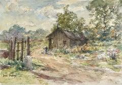 Petite maison en bois - Impressionist Watercolour, Landscape by Henri Duhem