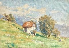Maison sur la colline - Impressionist Watercolour, Landscape by Henri Duhem
