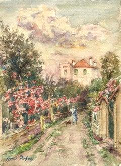 Une promenade un jour d'été - Impressionist Watercolour, Landscape by H Duhem