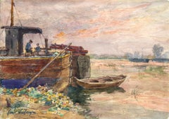 Fishing boat at sunset - Impressionist Watercolour, Boat in Riverscape - H Duhem