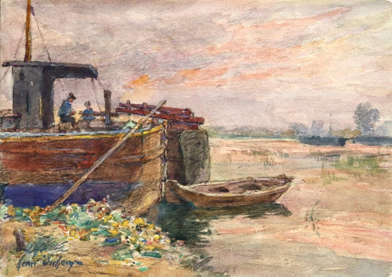 Henri Duhem Landscape Painting - Fishing boat at sunset - Impressionist Watercolour, Boat in Riverscape - H Duhem