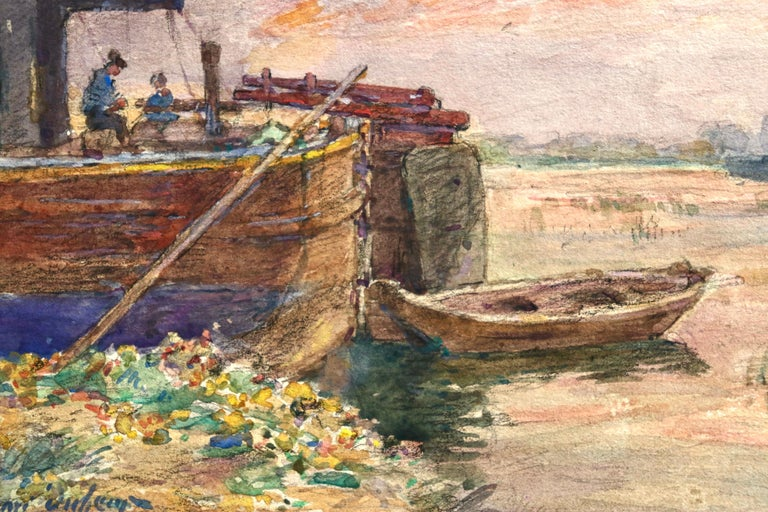 Fishing boat at sunset - Impressionist Watercolour, Boat in Riverscape - H Duhem - Beige Landscape Painting by Henri Duhem