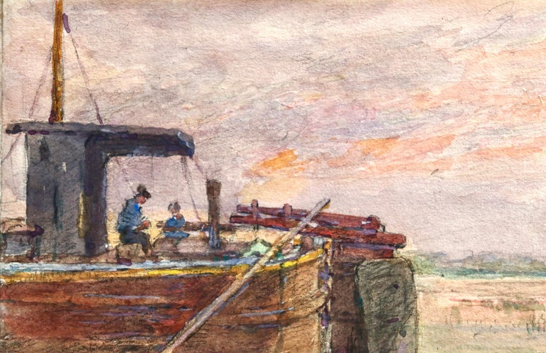 Watercolour on paper circa 1925 by French Impressionist painter Henri Duhem two people sitting on a fishing boat as the pink of the sunset reflects in the water. Signed lower left. This piece is not currently framed but a suitable frame can be