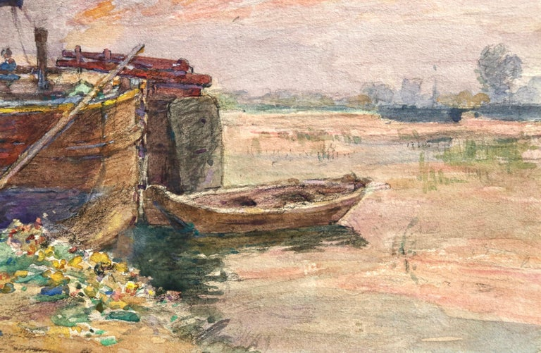 Fishing boat at sunset - Impressionist Watercolour, Boat in Riverscape - H Duhem For Sale 1