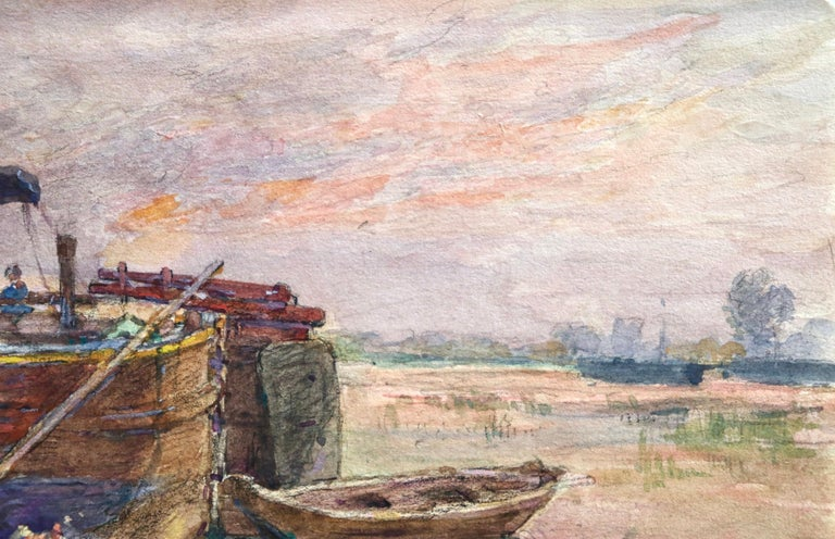 Fishing boat at sunset - Impressionist Watercolour, Boat in Riverscape - H Duhem For Sale 2